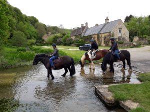 Horses enjoying at drink at Upper Slaughter